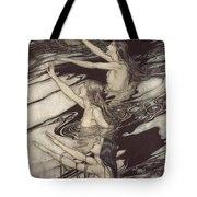 Siegfried Siegfried Our Warning Is True Flee Oh Flee From The Curse Tote Bag by Arthur Rackham