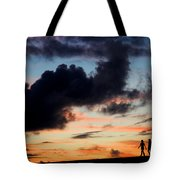 Silhouettes Of Three Girls Walking In The Sunset Tote Bag by Fabrizio Troiani