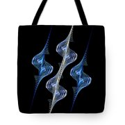 Silver and Blue Spirals Tote Bag by Sandy Keeton