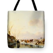 Skaters by a Booth on a Frozen River Tote Bag by Andreas Schelfhout