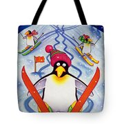 Skiing Holiday Tote Bag by Cathy Baxter