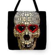 Skull Art - Day Of The Dead 3 Stone Rock'd Tote Bag by Sharon Cummings