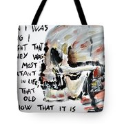 Skull Quoting Oscar Wilde.3 Tote Bag by Fabrizio Cassetta