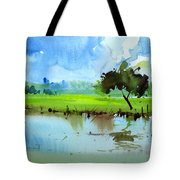 Sky N Farmland Tote Bag by Anil Nene