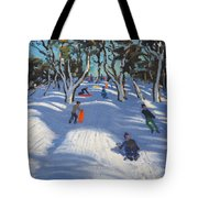Sledging At Ladmanlow Tote Bag by Andrew Macara