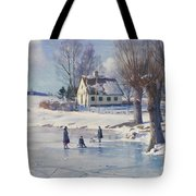 Sledging on a Frozen Pond Tote Bag by Peder Monsted