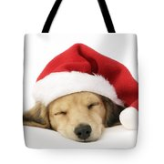 Sleeping Santa Puppy Tote Bag by Greg Cuddiford