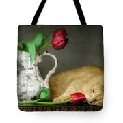 Sleepy Tulips Tote Bag by Diana Angstadt