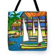 Small Boat Regatta - Cedar Key Tote Bag by Mike Segal