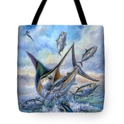 Small Tuna And Blue Marlin Jumping Tote Bag by Terry Fox
