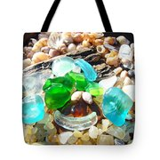 Smiley Face Beach Seaglass Blue Green Art Prints Tote Bag by Baslee Troutman