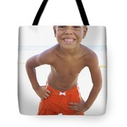 Smiling Boy On Beach Tote Bag by Kicka Witte