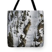 Snow-covered Canyon Walls In Yellowstone National Park Tote Bag by Bruce Gourley