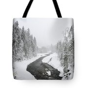 Snow Landscape - Trees And River In Winter Tote Bag by Matthias Hauser