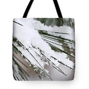 Snow On Pine Needles Tote Bag by Elena Elisseeva