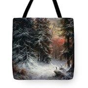 Snow Scene In The Black Forest Tote Bag by Carl Friedrich Wilhelm Trautschold