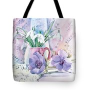 Snowdrops And Anemones Tote Bag by Julia Rowntree