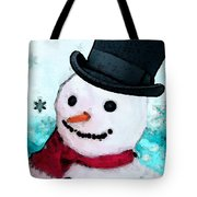 Snowman Christmas Art - Frosty Tote Bag by Sharon Cummings