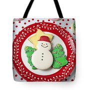 Snowman Cookie Plate Tote Bag by Garry Gay