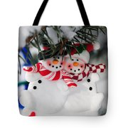 Snowmen Christmas Ornament Tote Bag by Elena Elisseeva