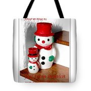 Snowmen - Greetings - Happy Holidays Tote Bag by Barbara Griffin