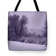 Snowy Bench In Purple Tote Bag by Carol Groenen