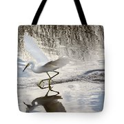 Snowy Egret Gliding Across The Water Tote Bag by John M Bailey