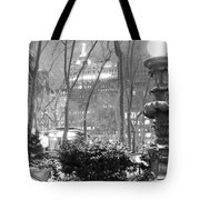Snowy Night In Bryant Park II Tote Bag by Miriam Cintron