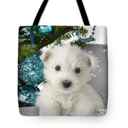 Snowy White Puppy Present Tote Bag by Greg Cuddiford