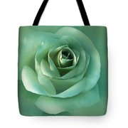 Soft Emerald Green Rose Flower Tote Bag by Jennie Marie Schell