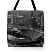 Soldier Field Chicago Sports 05 Black and White Tote Bag by Thomas Woolworth
