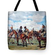 Soldiers On Horseback Tote Bag by Jean-Louis Ernest Meissonier