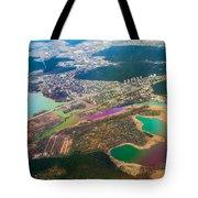 Somewhere Over Latvia. Rainbow Earth Tote Bag by Jenny Rainbow