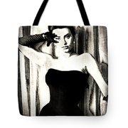 Sophia Loren - Black And White Tote Bag by Absinthe Art By Michelle LeAnn Scott
