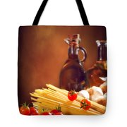 Spaghetti Pasta With Tomatoes And Garlic Tote Bag by Amanda And Christopher Elwell