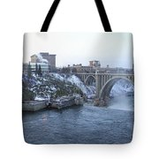 Spokane City Skyline On A Frigid Morning Tote Bag by Daniel Hagerman