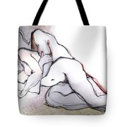 Spooning - Couples In Love Tote Bag by Carolyn Weltman