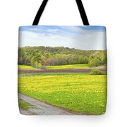 Spring Farm Landscape With Dirt Road And Dandelions Maine Tote Bag by Keith Webber Jr
