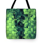 Square Mania - Old Man - Limeblue Tote Bag by Emerico Imre Toth