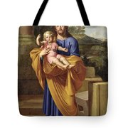 St. Joseph Carrying The Infant Jesus Tote Bag by Pierre  Letellier