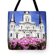St. Louis Cathedral and Flowers in New Orleans Tote Bag by Paul Velgos
