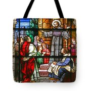 Stained Glass Window Saint Augustine Preaching Tote Bag by Christine Till