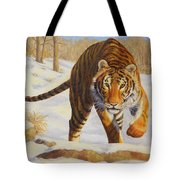 Stalking Siberian Tiger Tote Bag by Crista Forest