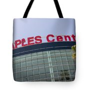Staples Center Sign In Los Angeles California Tote Bag by Paul Velgos