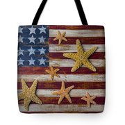 Starfish On American Flag Tote Bag by Garry Gay