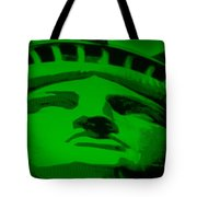 Statue Of Liberty In Green Tote Bag by Rob Hans