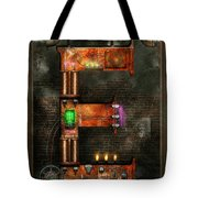Steampunk - Alphabet - E Is For Electricity Tote Bag by Mike Savad