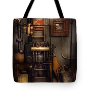 Steampunk - Back In The Engine Room Tote Bag by Mike Savad