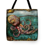 Steampunk - The Tale Of The Kraken Tote Bag by Mike Savad