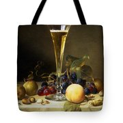 Still Life with a glass of champagne Tote Bag by Johann Wilhelm Preyer